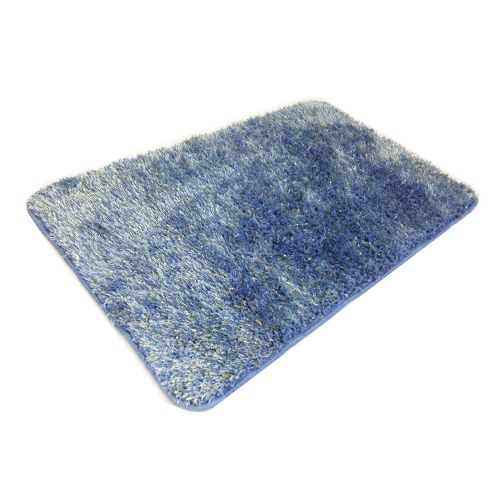 STYLISH LUXURY SPARKLE GLITTER FLUFFY SUPER SOFT BATH MAT NON SLIP BLUE